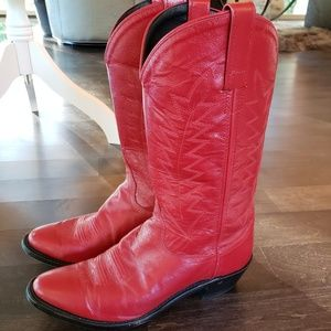 Red Genuine Leather Cowboy Boots